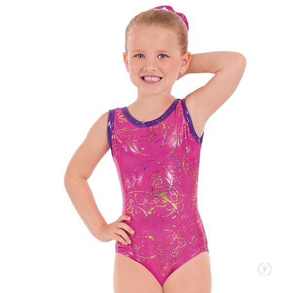 93733336246d Child Contrast Metallic Graffiti Gymnastics Leotard