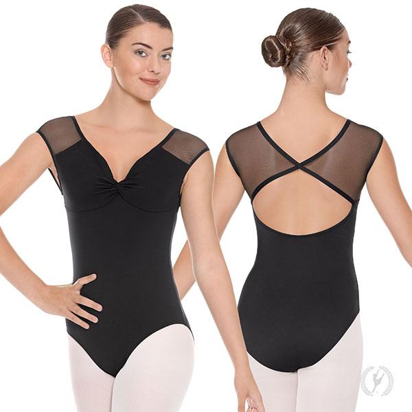 df4400337a5 41594 - Womens Silhouette Mesh Cap Sleeve Open Back Leotard