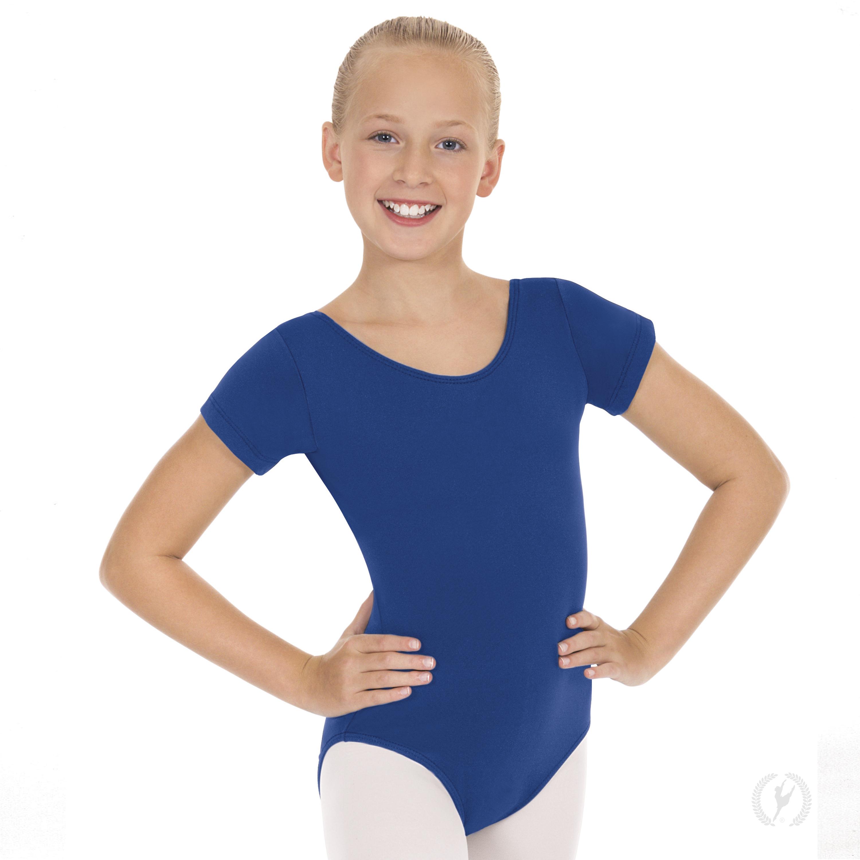 da9c5ffdbed6 Girls Short Sleeve Leotard with Cotton Lycra®