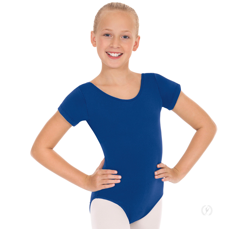 Girls Short Sleeve Leotard With Tactel 174 Microfiber